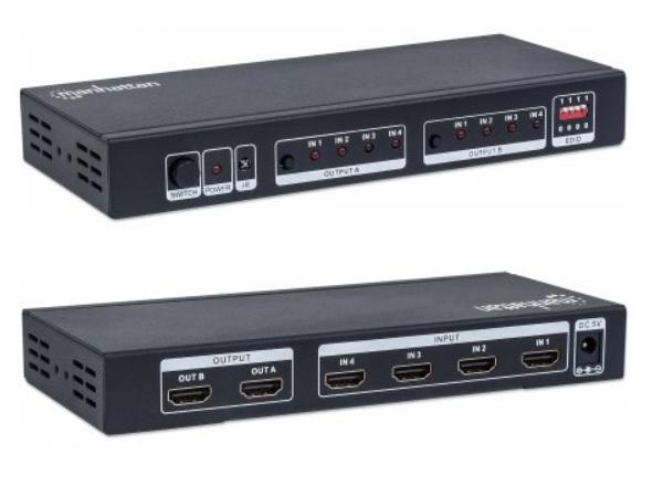 SWITCH MATRICIAL 4X2 HDMI C/REMOTO MANHATTAN