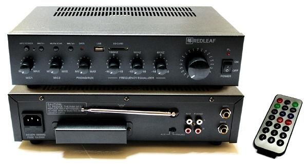 AMPLIFICADOR 60W, USB/SD, 2 MIC, 70V/OHM REDLEAF