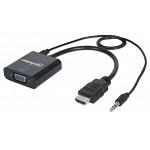 CONVERTIDOR HDMI MACHO A VGA HEMBRA MANHATTAN
